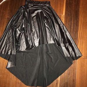 Vegan Leather High-Low Skirt